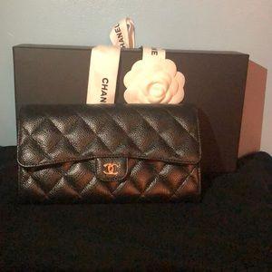 Black gold metal Chanel wallet